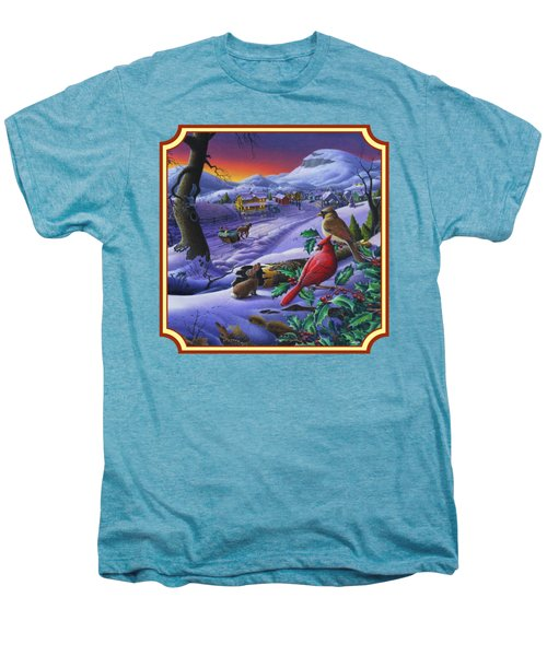 Winter Mountain Landscape - Cardinals On Holly Bush - Small Town - Sleigh Ride - Square Format Men's Premium T-Shirt