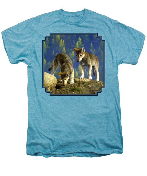 Wolf Pups - Anybody Home Men's Premium T-Shirt by Crista Forest