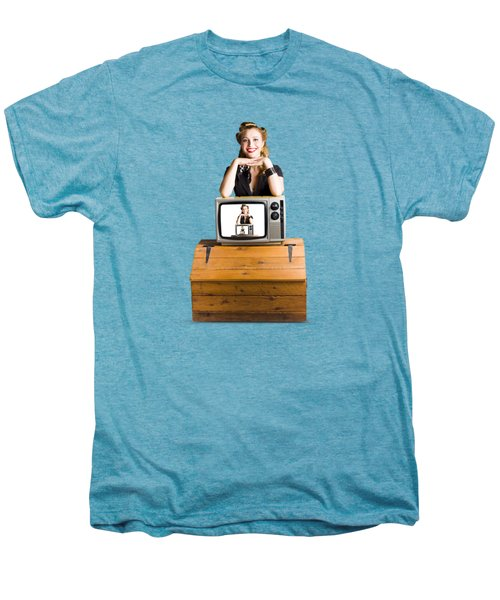 Woman  In Front Of Tv Camera Men's Premium T-Shirt by Jorgo Photography - Wall Art Gallery