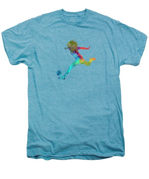 Woman Soccer Player 01 In Watercolor Men's Premium T-Shirt by Pablo Romero