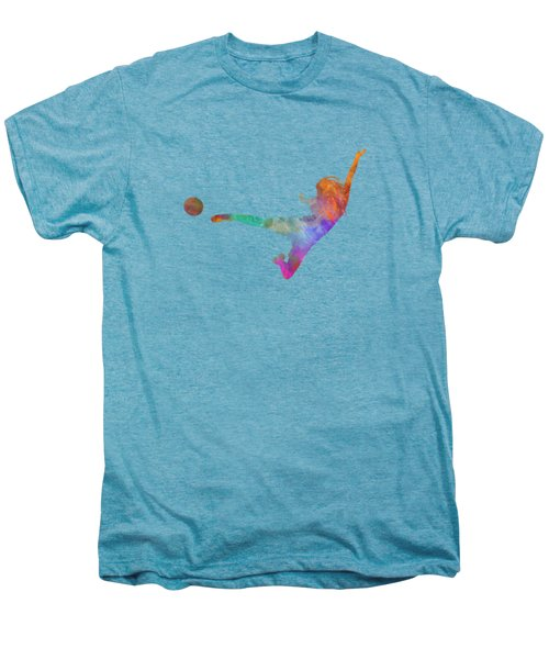 Woman Soccer Player 02 In Watercolor Men's Premium T-Shirt by Pablo Romero