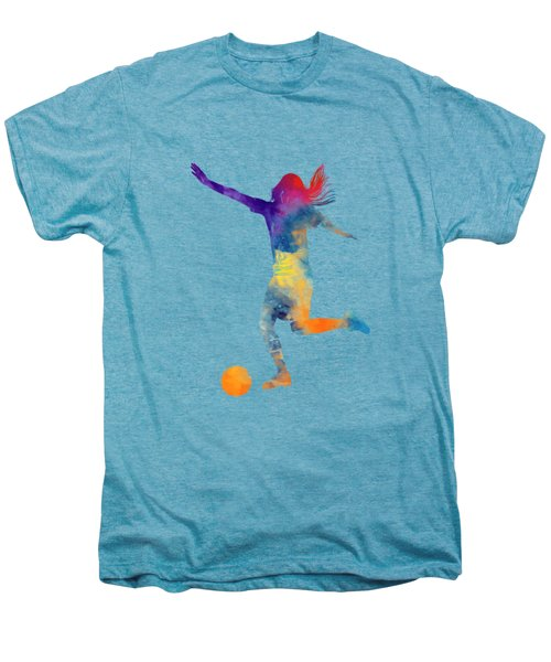 Woman Soccer Player 07 In Watercolor Men's Premium T-Shirt