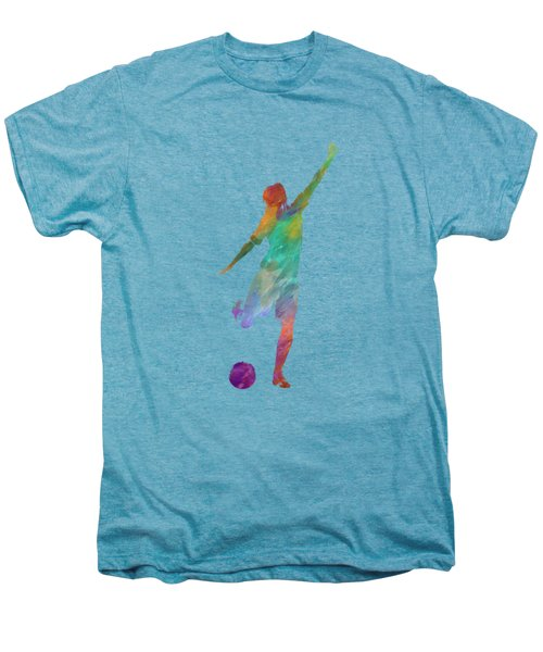 Woman Soccer Player 09 In Watercolor Men's Premium T-Shirt