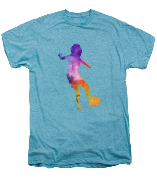 Woman Soccer Player 15 In Watercolor Men's Premium T-Shirt