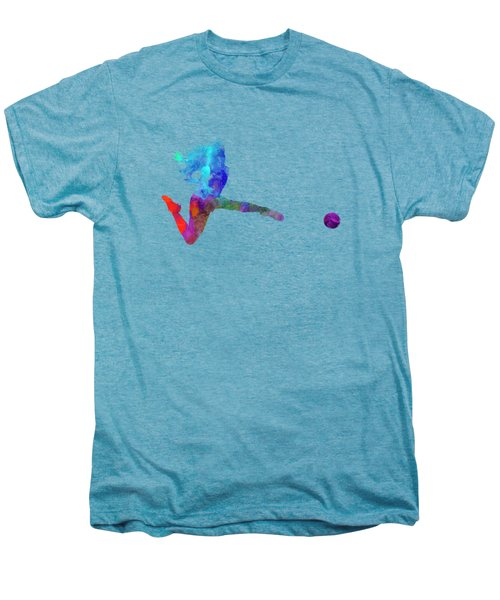 Woman Soccer Player 16 In Watercolor Men's Premium T-Shirt