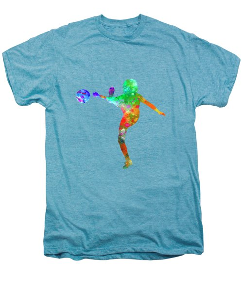 Woman Soccer Player 17 In Watercolor Men's Premium T-Shirt by Pablo Romero
