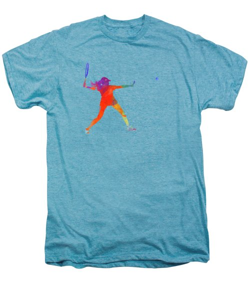 Woman Tennis Player 01 In Watercolor Men's Premium T-Shirt by Pablo Romero