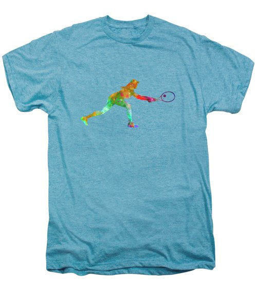 Woman Tennis Player Sadness 02 In Watercolor Men's Premium T-Shirt by Pablo Romero