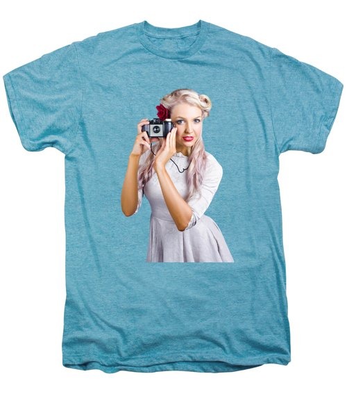 Woman Using Retro Film Camera Men's Premium T-Shirt