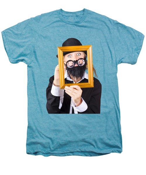 Men's Premium T-Shirt featuring the photograph Woman With Empty Picture Frame by Jorgo Photography - Wall Art Gallery