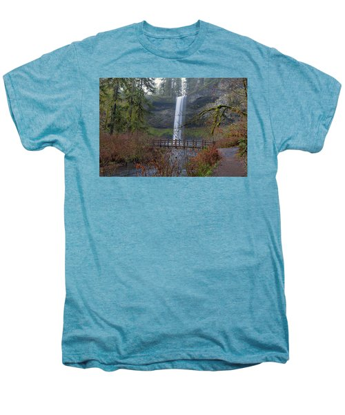 Wood Bridge On Hiking Trail At Silver Falls State Park Men's Premium T-Shirt