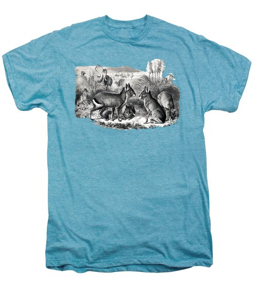 woodcut drawing of South American Maras Men's Premium T-Shirt by The one eyed Raven