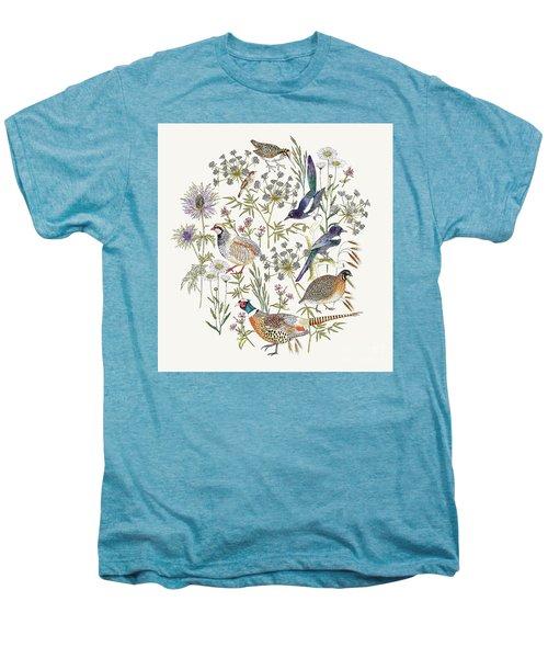 Woodland Edge Birds Placement Men's Premium T-Shirt by Jacqueline Colley