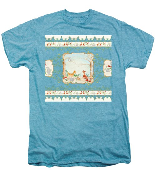 Woodland Fairy Tale - Aqua Blue Forest Gathering Of Woodland Animals Men's Premium T-Shirt by Audrey Jeanne Roberts