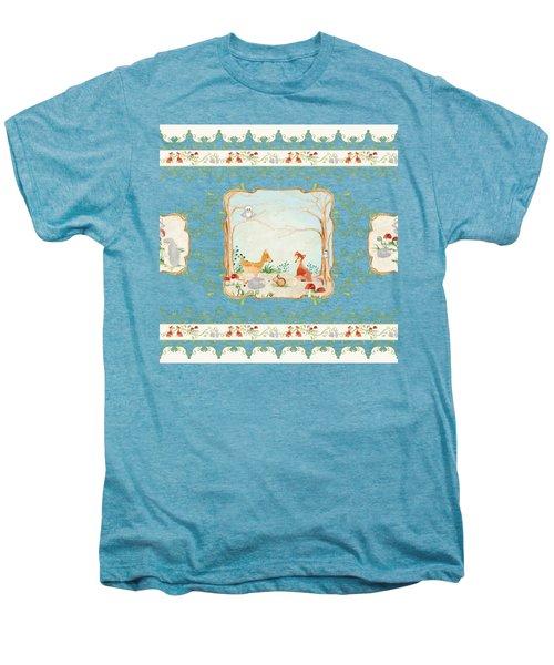 Woodland Fairy Tale - Blush Pink Forest Gathering Of Woodland Animals Men's Premium T-Shirt
