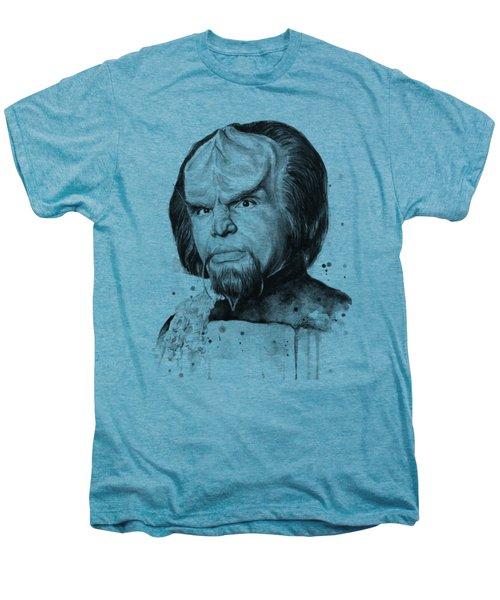 Worf Portrait Watercolor Star Trek Art Men's Premium T-Shirt by Olga Shvartsur