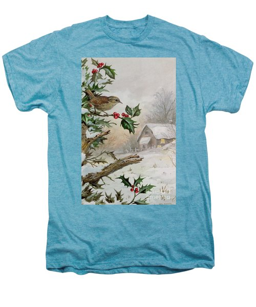 Wren In Hollybush By A Cottage Men's Premium T-Shirt by Carl Donner