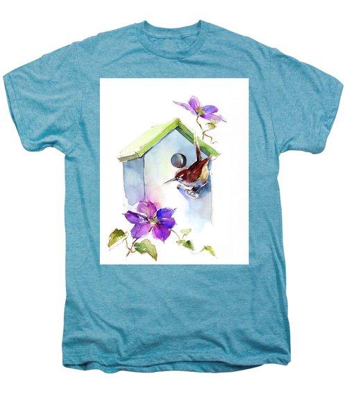 Wren With Birdhouse And Clematis Men's Premium T-Shirt