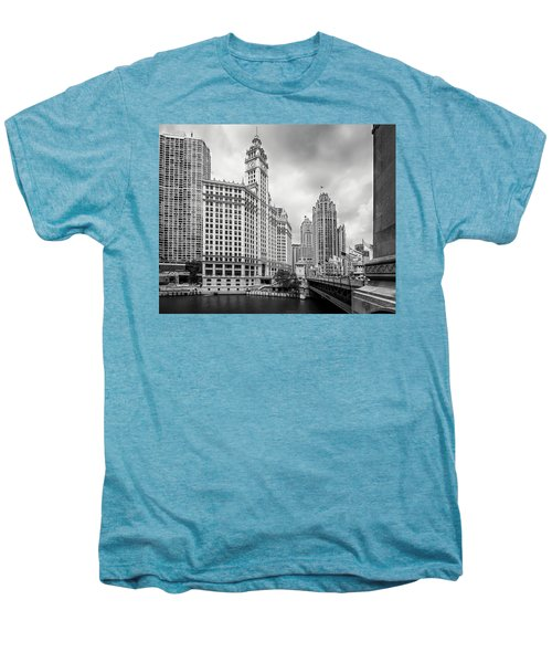 Men's Premium T-Shirt featuring the photograph Wrigley Building Chicago by Adam Romanowicz