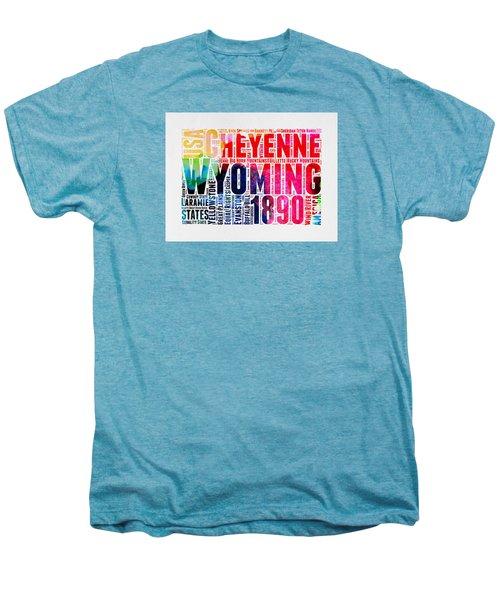 Wyoming Watercolor Word Cloud Map Men's Premium T-Shirt by Naxart Studio