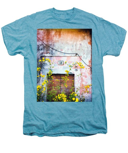 Men's Premium T-Shirt featuring the photograph Yellow Flowers And Decayed Wall by Silvia Ganora