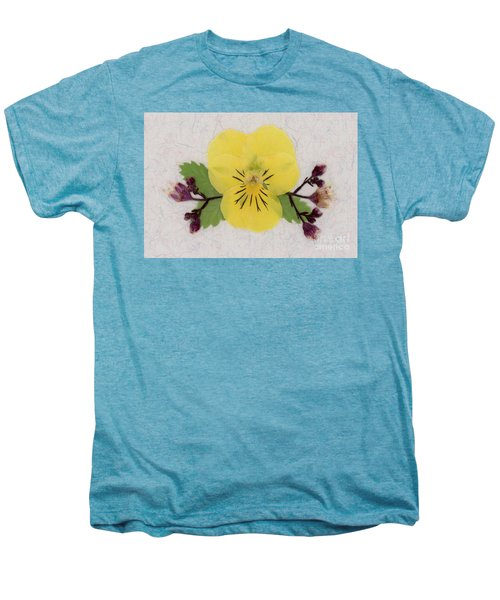 Yellow Pansy And Coral Bells Pressed Flowers Men's Premium T-Shirt