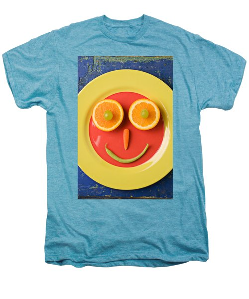 Yellow Plate With Food Face Men's Premium T-Shirt by Garry Gay