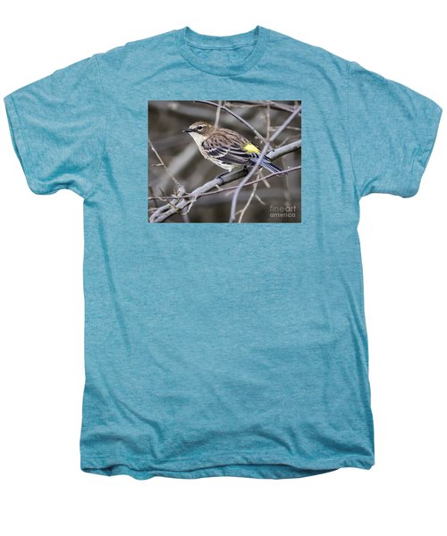Men's Premium T-Shirt featuring the photograph Yellow-rumped Warber In Fall Colors by Ricky L Jones