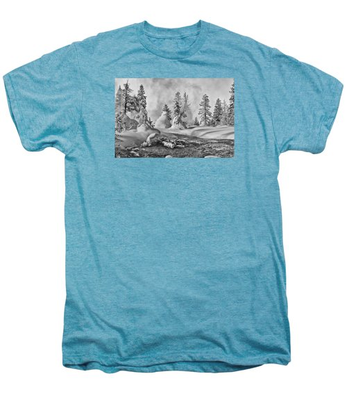 Men's Premium T-Shirt featuring the photograph Yellowstone In Winter by Gary Lengyel
