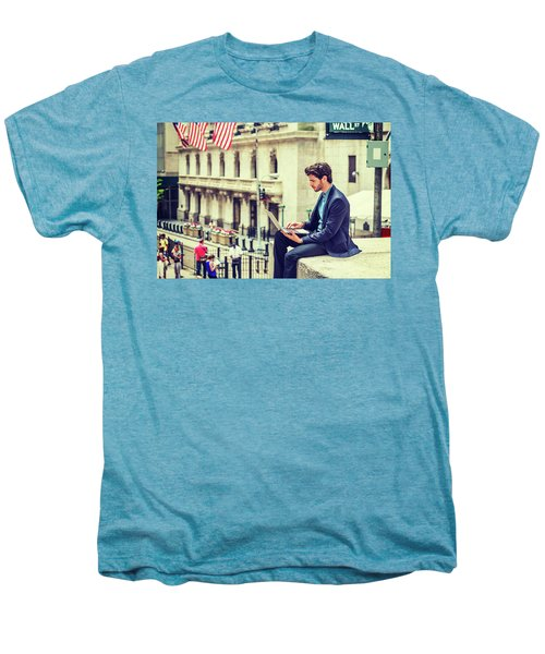 Young Businessman Working On Wall Street In New York Men's Premium T-Shirt