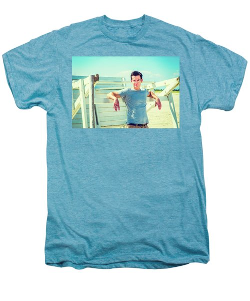 Young Man Relaxing On The Beach Men's Premium T-Shirt