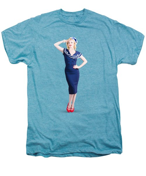 Young Retro Pinup Girl Wearing Sailor Uniform Men's Premium T-Shirt