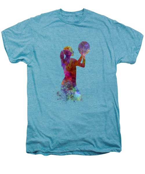 Young Woman Basketball Player 03 In Watercolor Men's Premium T-Shirt by Pablo Romero