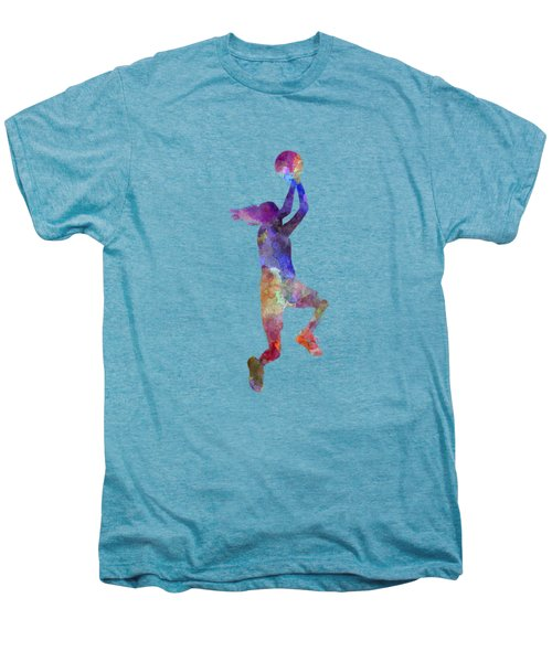 Young Woman Basketball Player 05 In Watercolor Men's Premium T-Shirt by Pablo Romero
