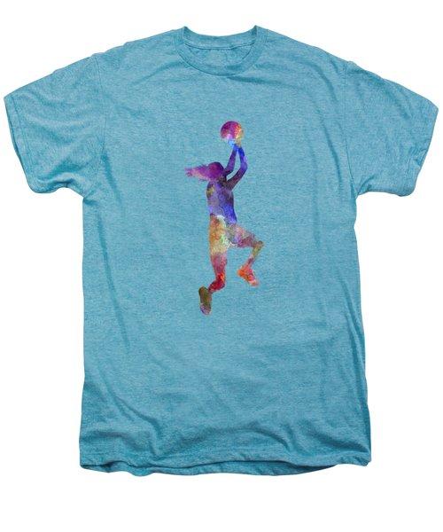 Young Woman Basketball Player 05 In Watercolor Men's Premium T-Shirt