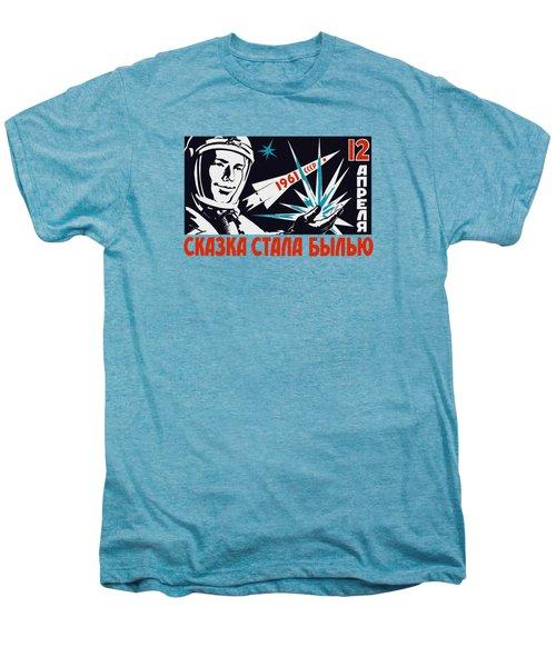 Yuri Gagarin - Vintage Soviet Space Propaganda Men's Premium T-Shirt