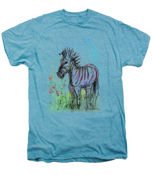 Zebra Painting Watercolor Sketch Men's Premium T-Shirt by Olga Shvartsur