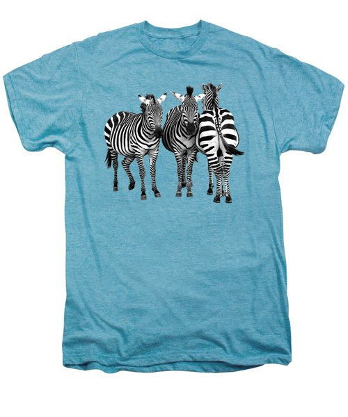 Zebra - Three's A Crowd Men's Premium T-Shirt by Gill Billington