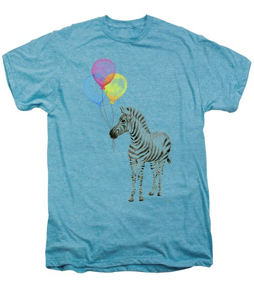 Zebra Watercolor With Balloons Men's Premium T-Shirt