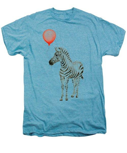 Zebra With Red Balloon Whimsical Baby Animals Men's Premium T-Shirt