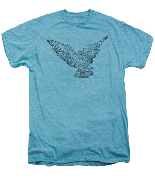 Zentangle Owl In Flight Men's Premium T-Shirt by Cindy Elsharouni