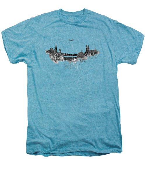 Zurich Black And White Skyline Men's Premium T-Shirt by Marian Voicu