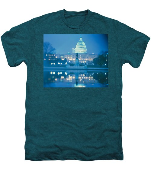 Government Building Lit Up At Night Men's Premium T-Shirt by Panoramic Images