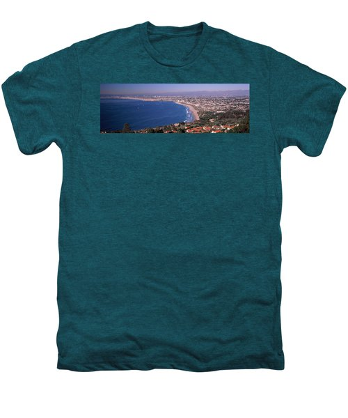 Aerial View Of A City At Coast, Santa Men's Premium T-Shirt by Panoramic Images