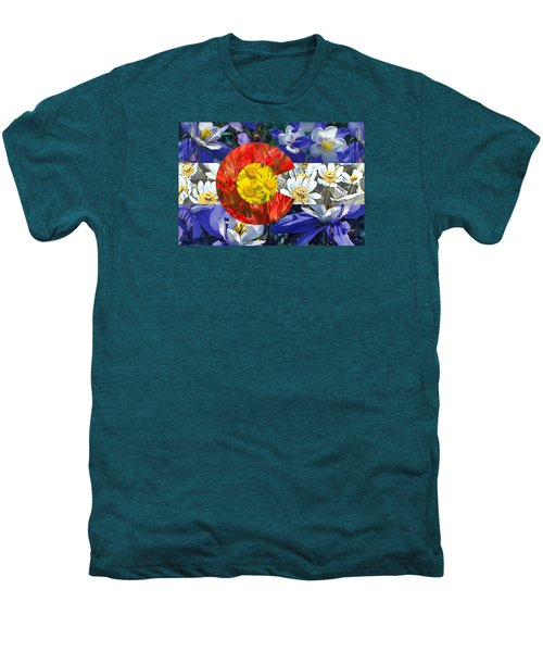Colorado State Flag With Wildflower Textures Men's Premium T-Shirt by Aaron Spong