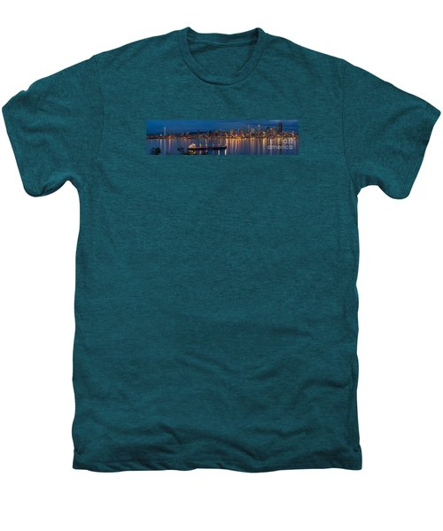 Elliott Bay Seattle Skyline Night Reflections  Men's Premium T-Shirt by Mike Reid