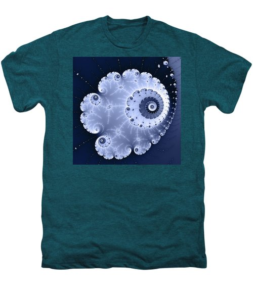 Fractal Spiral Light And Dark Blue Colors Men's Premium T-Shirt by Matthias Hauser