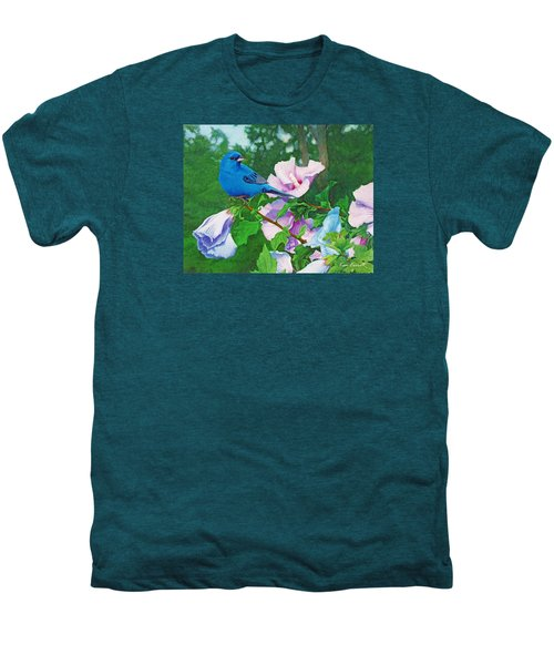 Indigo Bunting  Men's Premium T-Shirt by Ken Everett