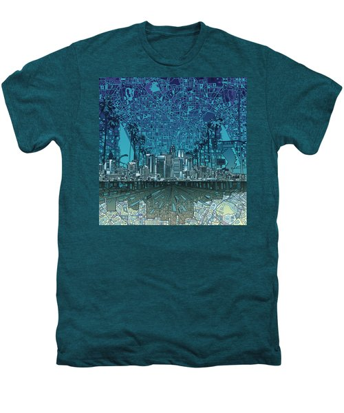 Los Angeles Skyline Abstract 5 Men's Premium T-Shirt by Bekim Art