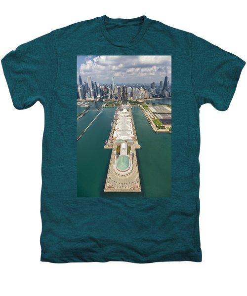 Navy Pier Chicago Aerial Men's Premium T-Shirt by Adam Romanowicz